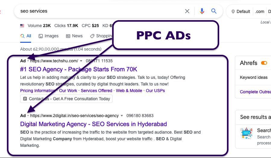 ppc ads screenshot