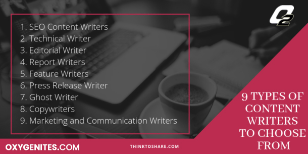 9 types of content writers to choose from