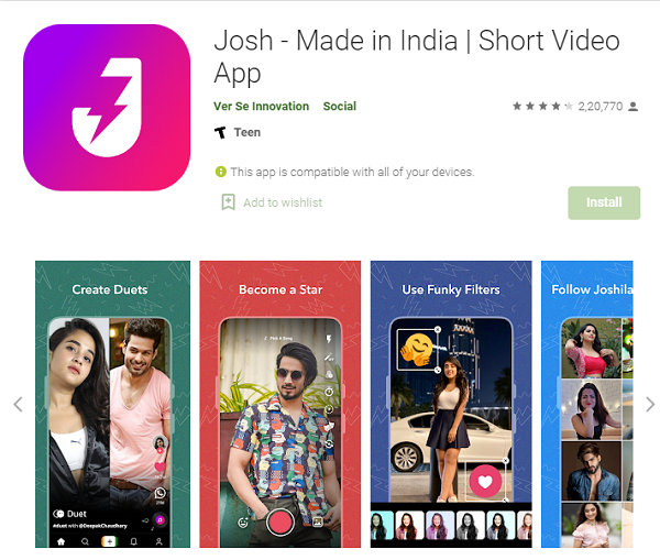 Josh Verification Service - Download from Google Play Store.