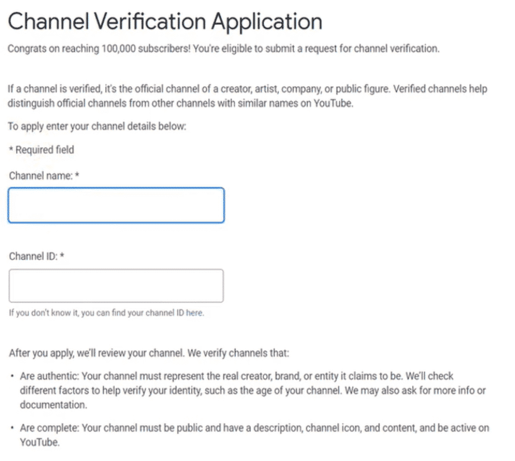 Youtube verification channel application form