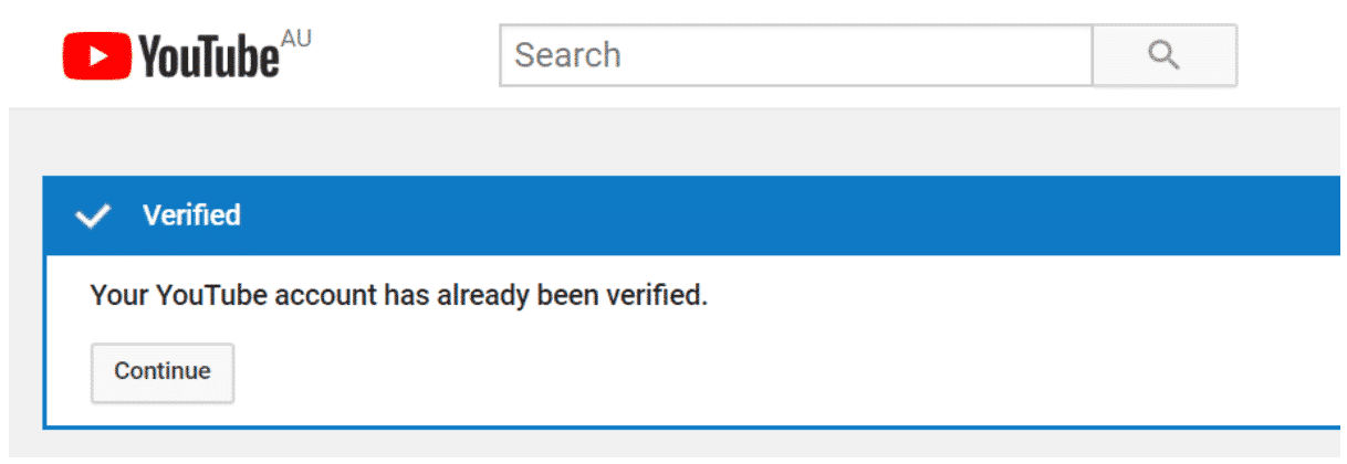 Youtube verification confirmation